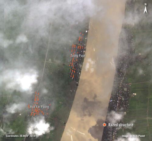 Brennende Dörfer im Rakhaing-Staat im September 2020 (Quelle: Amnesty.org/ ©Planet)